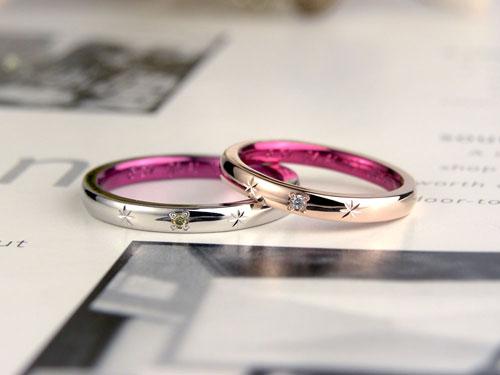 パープルピンクカラーコート結婚指輪